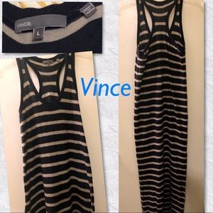 Vince Stripe Maxi Racerback Navy & Tan dress in Lg